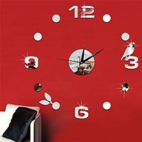 Wholesale Bird Wall Clock Art - 3D mirror wall stickers Wall clock Creative Home Decor DIY gold silver Birds Removable Decoration Stickers 2017 wholesale Free delivery