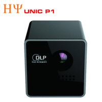 Wholesale Business Building - Wholesale- Original UNIC P1 DLP Projector 15 Ansi Lumen Mini Tiny Handheld Pocket Proyector Built-in Battery Home Cinema Theater Beamer