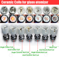 Wholesale E Cigarette Dual Core Atomizer - Top Quartz Ceramic Cotton replacement atomizer dual glass globe coils Donut wax dry herb Herbal vaporizers vape pen e cigarettes vapor core