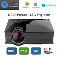 yeni ev sineması toptan satış-Yeni UNIC UC46 + LCD Projektör 1200 Lümen 2.4G WiFi Kablosuz Taşınabilir LED Ev Sineması Sinema Multimedya 1080 P USB / SD / HDMI / VGA / IR UC40