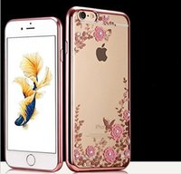 Wholesale Iphone Elements - for iPhone X 7 6 6s 8 plus 5 5s Case,Fashion clear Hard PC + soft TPU Graden Flower Case with Original Swarovski Element for iPhone cases 7