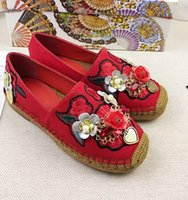 Wholesale Design Espadrilles - Embroidery Hand-beaded high-end brand shoes espadrilles channel design shoes, women's casual canvas shoes largest luxury goods Black Red