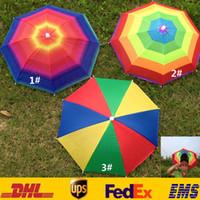 Wholesale Foldable Umbrellas - Adult Children Outdoor Foldable Sun Umbrella Hat Golf Fishing Camping Shade Beach Headwear Cap Head Hats ZJ-U01