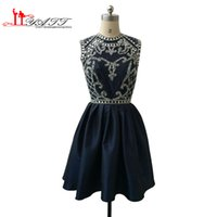 Dark Navy Short Homecoming Vestiti 2016 A-line Jewel Neck pieno in rilievo in alto aperta posteriore Mini vestito da promenade abiti da festa formale