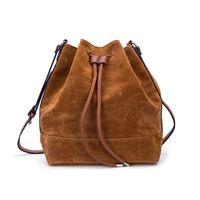 Wholesale Big Clearance - Clearance On Sale Fashion Woman Drawstring Bucket Bag Brown Ladies Shoulder Crossbody Casual Travel Big High Capacity HD-70186