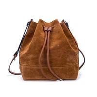 bolso de lazo marrón al por mayor-Bolso de cubo con cordón de moda para mujer Bolso bandolera marrón grande y bolso de hombro Bolsos de ante de alta calidad HD-70186