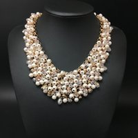 Wholesale Body Chain Pearl Jewelry - 2016 high quality full crystal pearl necklace women handwork fashion chain necklace jewelry Luxury Body Statement wholesale Free Shipping