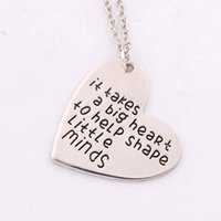 "Wholesale Teachers Day Gifts Wholesale - Gift for Teacher ""It Takes a Big Heart to Help Shape Little Minds"" Charm Love Heart Pendant Necklace N1681 24 inches Chains"