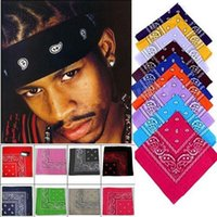 Wholesale Boy Bandanas - Wholesale -women headband NEW PAISLEY DESIGN BANDANA 100% COTTON BIKER COW BOY GIRL NECK SCARF WRIST WRAP head bandanas 2577