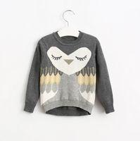 Wholesale Owl Sweater Girls - Autumn Winter Girls Sweater Kids Long Sleeve Owl Knitted Pullovers Tops Children Knitwear Sweaters 12474