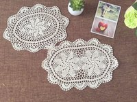 Oval oval crochet doily patterns - Set of Hand crocheted Oval coasters Chic pattern doilies for home decor centerpieces for wedding Vintage style table mats Oval