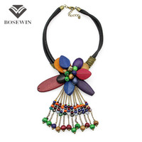 Wholesale vintage green bead necklace - Bohemia New Chic Statement Necklace Women fashion Wood Flower Bead Tassel Leather Collares Vintage Maxi Necklaces & Pendants CE3876