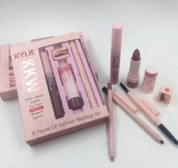 Wholesale Eye Lip Pencil Sets - New Kylie KKW 6 Pieces Of Fation Makeup set Lipstick Lip Gloss eye Brow Pencil Lipliner 6 in 1 set By Kylie Cosmetics DHL shipping