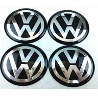 Wholesale Stickers Gti - 56mm 65mm aluminum Car VW Black Blue Siver Wheel Hub Center Caps Emblem Styling vw bora Logo Wheel Sticker For golf GTI passat polo