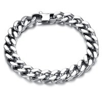Wholesale 14mm Stainless Steel Curb Chain - 10 12 14mm Curb Cuban Stainless Steel Bracelet Mens Chain Clasp Link Bracelets Silver Tone Jewelry Gift Promotion
