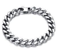 Wholesale Mens Silver Curb Bracelet - 10 12 14mm Curb Cuban Stainless Steel Bracelet Mens Chain Clasp Link Bracelets Silver Tone Jewelry Gift Promotion