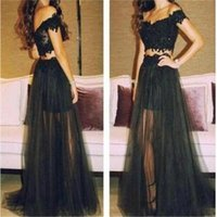 Wholesale Evening Party Cute - Fashionable Cute New Style Long Black Two Pieces See Through Unique Style Lace Off Shoulder Evening Party Prom Dress Online 2017