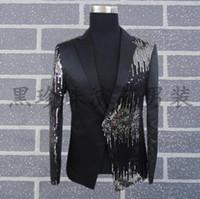 Wholesale Dance Costumes Jacket - Wholesale- Black men suits designs masculino homme terno stage costumes for singers men sequin blazer dance clothes jacket style dress
