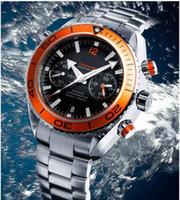Wholesale Mens Automatic Water Resistant Watches - Wholesale-Luxury New James Bond 007 Automatic Black Dial Orange Bezel Stainless Bracelet High Quality Mens Watch Men Sport Watches