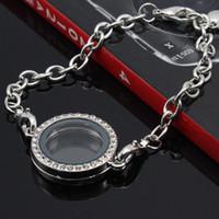 Wholesale Float Frames Wholesale - Crystal round Circle Living Memory Locket Bracelet For Floating Charms can be open frame Bracelet