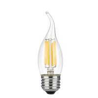 Wholesale Medium Base Led Light Bulbs - 6W LED Filament Candle Light Bulb, 2700K Soft White 600LM, E26 Medium Base Chandelier Lamp, C35 Flame Shape Bent Tip,60W Equivalent, Cross