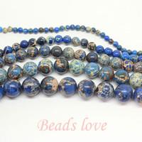 "Wholesale Blue Sea Sediment Jasper - Wholesale-wholesale Natural Stone blue Sea Sediment Jasper Loose Beads 15.5"" Pick Size 4 6 8 10 12mm Free Shipping (F00146)"