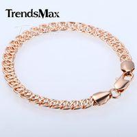 Wholesale Trendy Womens Bracelets - Fashion Jewelry Bracelets Trendy Gift 7MM 7, 8, 9inch Snail Link Rose Gold Filled Bracelet Fashion Womens Mens Chain Unisex Boys