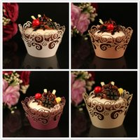 Venta al por mayor 50pcs Laser Cut Vine Nubes Cupcake Wrappers Muffin Cup Cake