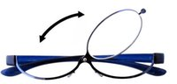 Flip Eyeglasses Online Shopping - Patent Blue Magnifying Eye Makeup Eyeglasses Flip up Reading Glasses For Woman with Case Lightweight and Comfortable