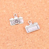 Wholesale Metal Charms Pendants Silver Camera - 160pcs Antique silver Charms camera Pendant Fit Bracelets Necklace DIY Metal Jewelry Making 15*14mm