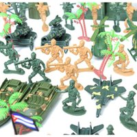 Wholesale Mini Helicopter Gift - 122pcs Mini 6cm Plastic Soldier Military Set With Tank Helicopter Model Best Gift For Boys Children