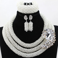 Wholesale Purple Garnet Silver Earrings - bridal vintage necklace sets Nigerian Wedding African Beads Crystal Necklace Bracelet Earrings elegant purple pink 3 layers for women gift