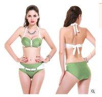 Wholesale Bright Bra - push up bikinis new arrival 2016 halter Bandage swimwear European and American bright fabrics bikini female padded swimsuit wholesale Bra