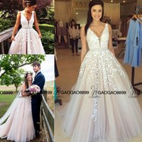Wholesale Show Bandage Dresses - 2016 Champagne Lace Tulle Tiered Skirt Dresses Evening Formal Wear Real Buyer Show V-neck Dubai Arabic Occasion Prom Gown