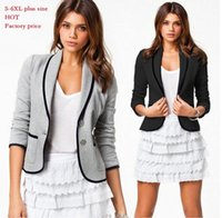 Wholesale Casual Cotton Blazer Womens - Womens casual Blazers jackets Short Fashion brand Designer lady Spring Autumn Turn Down Collar Slim Candy Color Jacket Coat plus size S-6XL