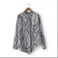 Wholesale Print Work Blouse - Women Fashion 2016 Irregular Vintage Floral Print Shirt Long Sleeve Stand Collar Blouses Work Wear Casual Shirts