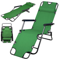 Wholesale fold lounge chair - Army Green Chaise Lounge Patio Chair Outdoor Yard Beach Metal Folding Recliner