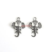 Wholesale Crafts Jewelry Elephants - 20pcs Tibetan Silver Plated Elephant Charms Pendants for Jewelry Making Accessories DIY Handmade Craft 21x16mm C323