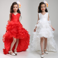 Wholesale Event Dress Girl - Weddings & Events Kids Formal Wear Flower Girls' Dresses Lace Tiered Floor-Length Ball Gown Little girls white pageant Princess dress