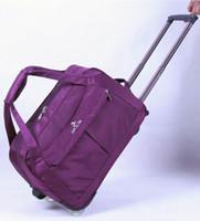 Wholesale Travel Trolley Wheels Luggage Bag - Wholesale-Trolley Portable travel luggage men road pull rod fashion women luggage travel bags with wheels sport bag free shipping