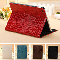 Wholesale Crocodile Ipad Cases - Luxury Crocodile PU Leather Magnetic wallet cover Case for Apple iPad mini 2 3 4 air 1 2 pro 10.5 9.7 12.9 2017 with Stand Holder case
