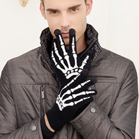 Wholesale Skeleton Touch Screen Gloves - The new fashion in Europe and the woolen gloves knitting wool seal skeleton Halloween claw touch screen hot style