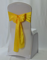 Wholesale Chair Sashes For Sale - 2017 top sale yellow satin chair sash for wedding party banquet 50 pieces per lot free shipping
