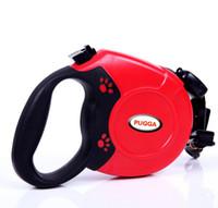 Wholesale Size Retractable Dog - 5 Color Automatic Retractable Nylon Dog Pet Leash&Collar Round Flat Belt Dog Training Leash For 40Kg Pets Mix Order S,L Size Min Order 10PCS