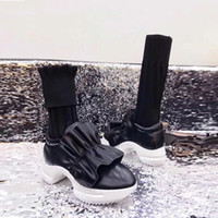 Wholesale High Sole Motorcycle Boots - 2018 Winter New Design Knitted Wool Sock Boots EVA Sole Slim Fit Ruffle Leather Boots