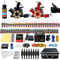 Wholesale Tattoo Machine Carry Case - Solong Tattoo Complete Tattoo Kit 2 Pro Machine Guns 54 Inks Power Supply Foot Pedal Needles Grips Tips Carry Case TK253