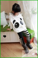 Wholesale Sets Panda Girls - factory killing price Girls 2Pcs Outfits Panda Long Sleeve Tops+Striped Pants Kids Baby Clothing Sets girls clothes fast free shipping