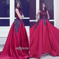 Wholesale Sexy Princess Prom - 2017 Unique Gothic Red Satin Long Train with Black Appliques Lace Evening Gowns Elegant Princess Jewel Sleeveless Prom Party Dresses BA3924