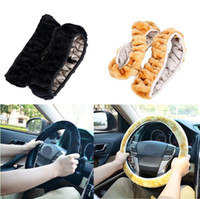 ingrosso accessori per capelli-Coprivolante invernale caldo per auto in finta lana Fine Hair Soft Nap Woolen Forniture auto universali per auto