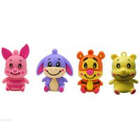 Wholesale 16gb Usb Drive Cute - usb flash drive 8GB pen drive 4GB pendrive 2GB new style Hot Sale cartoon cute Animal Pig Tiger Donkey Bear pendrive Usb2.0